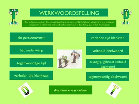 Werkwoordspelling geeft je tekst, uitleg en oefeningen over de werkwoordspelling