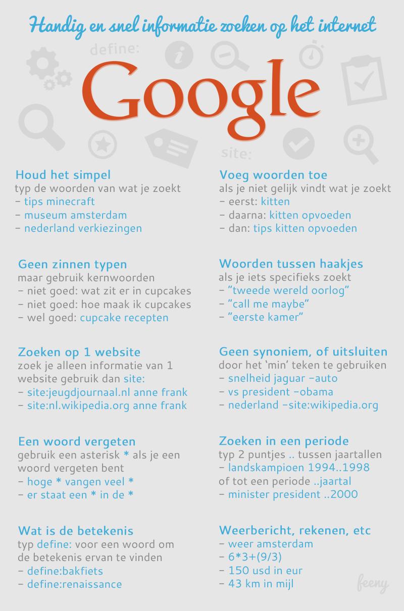 Handig en snel informatie zoeken op het internet met Google