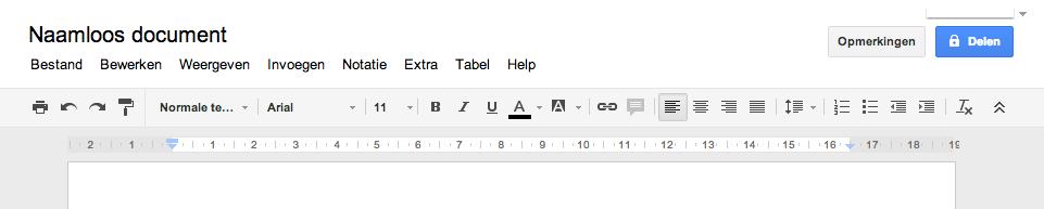 nieuw document in Google Drive