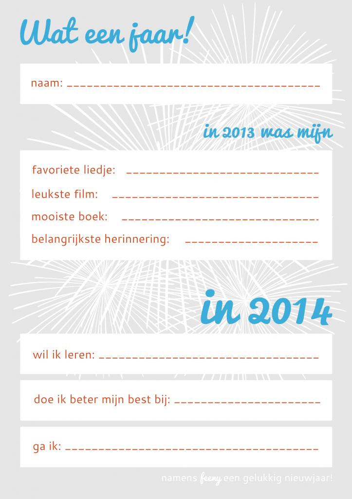 'Goede voornemens voor 2014' werkblad in kleur